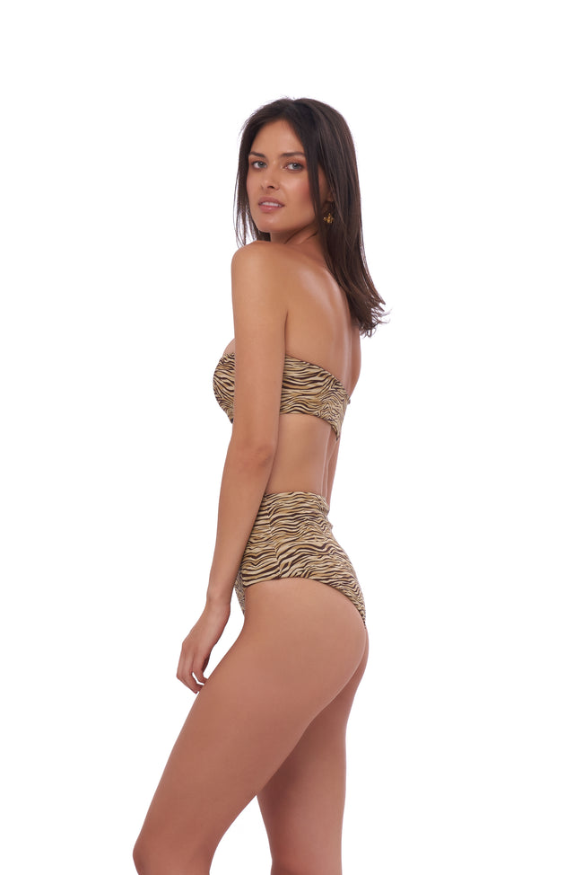 Cannes - High Waist Bikini Bottom in Tiger Print