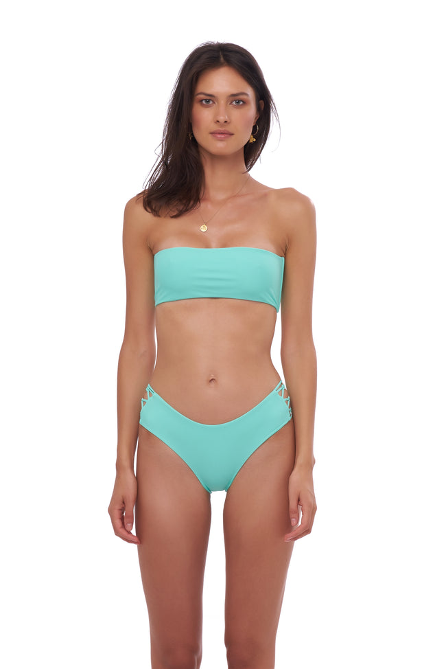 Ravello - Plain Bandeu Bikini Top in Aquamarine