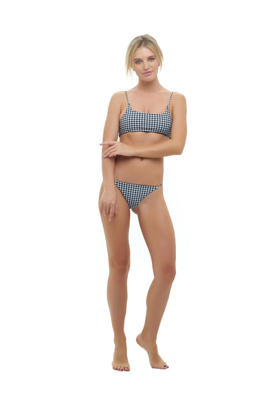 Montauk - Scoop bikini Top in Gingham Black and White Check