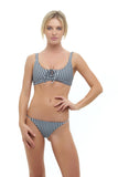 Corsica - Lace Up bikini top in Gingham Black and White Check (Pre Order)