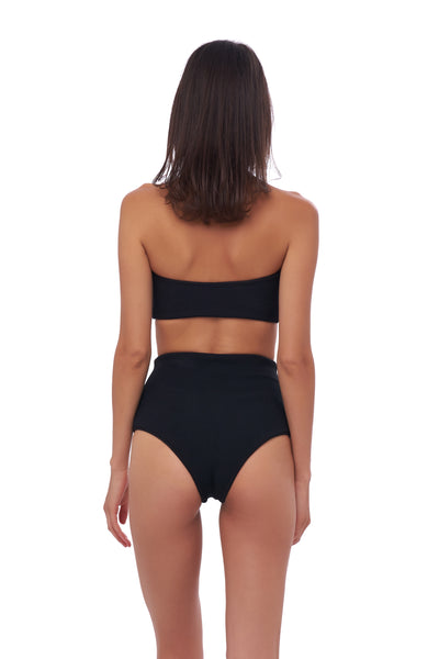 Cannes - High Waist Bikini Bottom in Seascape Black Textured