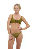 Corsica - Lace Up bikini top in Champagne