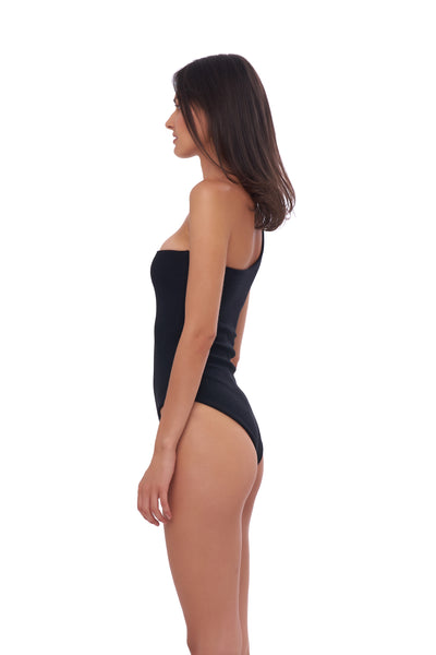 Cinque Terre - One shoulder One Piece in Seascape Black Textured