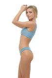 Cinque Terre - One shoulder bikini top in Dusk Blue