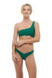 Cinque Terre - One shoulder bikini top in Palm Green