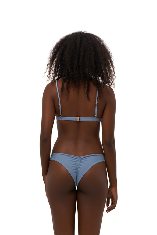 Aruba - Centre Back Ruche Bikini Bottom in Sky Blue