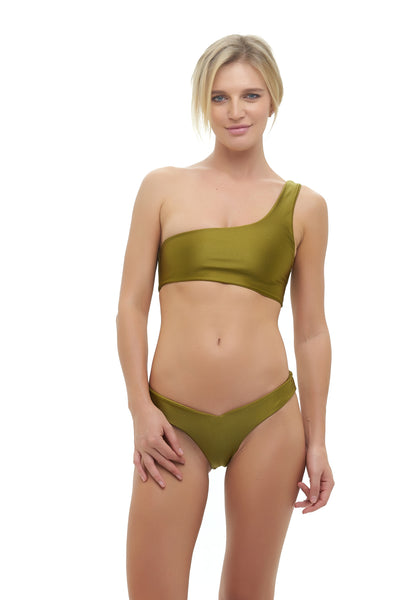 Cinque Terre - One shoulder bikini top in Champagne