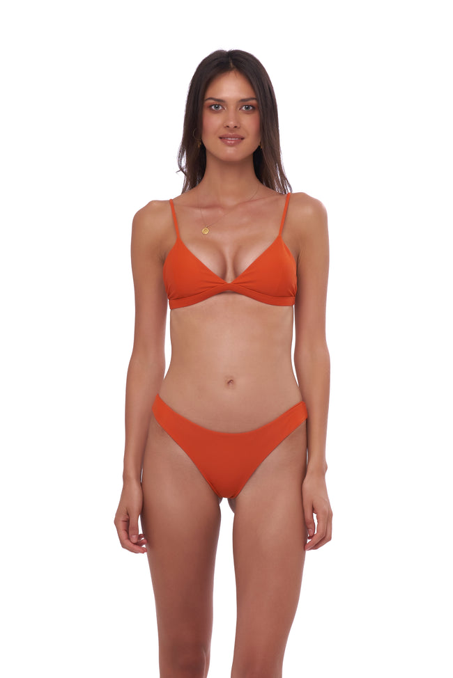 Mallorca - Triangle Bikini Top with removable padding in Sunburnt Orange