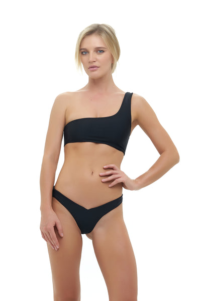 Cinque Terre - One shoulder bikini top in Black