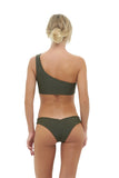 Cinque Terre - One shoulder bikini top in Military Green