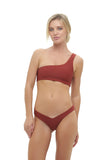 Cinque Terre - One shoulder bikini top in Desert Sands