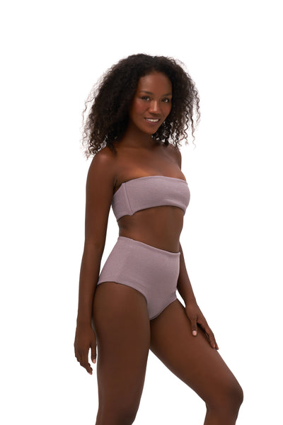 Ravello - Plain Bandeu Bikini Top in Seascape Jacaranda Textured