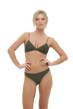 Aruba - Centre Back Ruche Bikini Bottom in Military Green