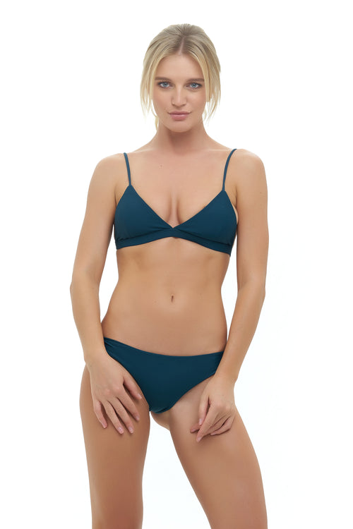 Mallorca - Triangle Bikini Top with removable padding In Jungle Green