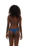 Aruba - Centre Back Ruche Bikini Bottom in Ocean Blue