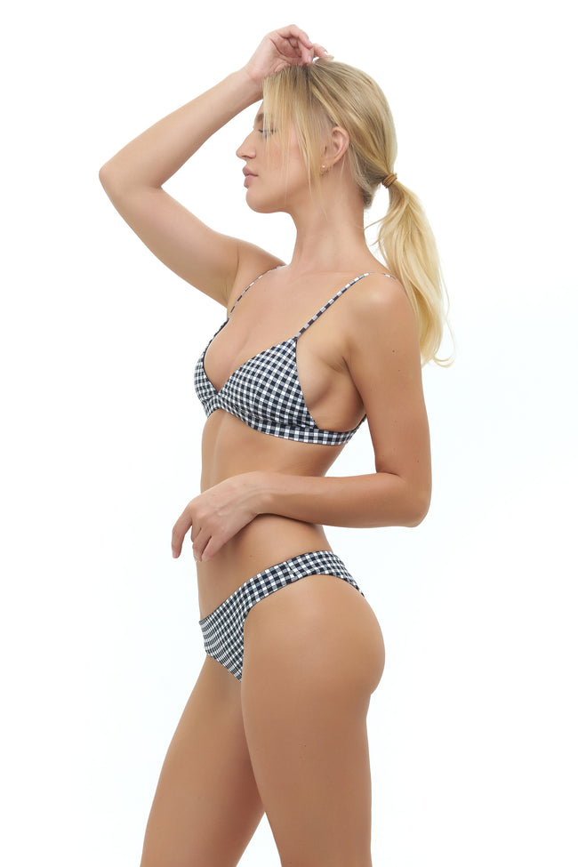 Mallorca - Triangle Bikini Top with removable padding In Gingham Black and White Check