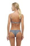 Aruba - Centre Back Ruche Bikini Bottom in Gingham Black and White Check
