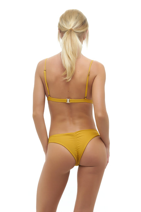 Aruba - Centre Back Ruche Bikini Bottom in Canyon Rose