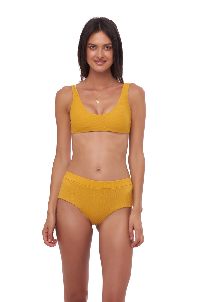 Algarve - Scoop bikini top in Wattle Honeycomb