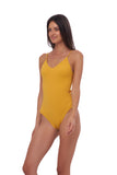 Portofino - One Piece Swimsuit in Wattle Honeycomb