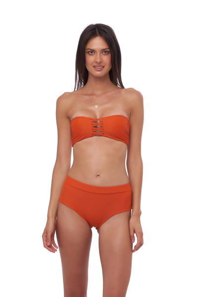Super Paradise - Bandeu Padding Bikini Top in Sunburnt Orange