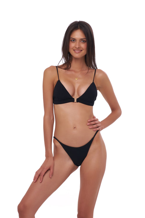 Biarritz - Triangle Bikini Top with removable padding in Seascape Black Textured