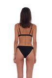 Biarritz - Bikini Bottom in Seascape Black Textured