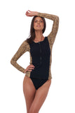 Echo Beach - Surf top in Combination Tiger Print with Seascape Black Textured