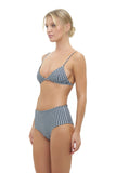 Bondi - Triangle Bikini Top In Gingham Black and White Check