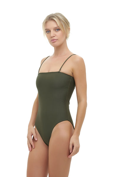 Calla Granara - Removable Strapless One Piece in Military Green
