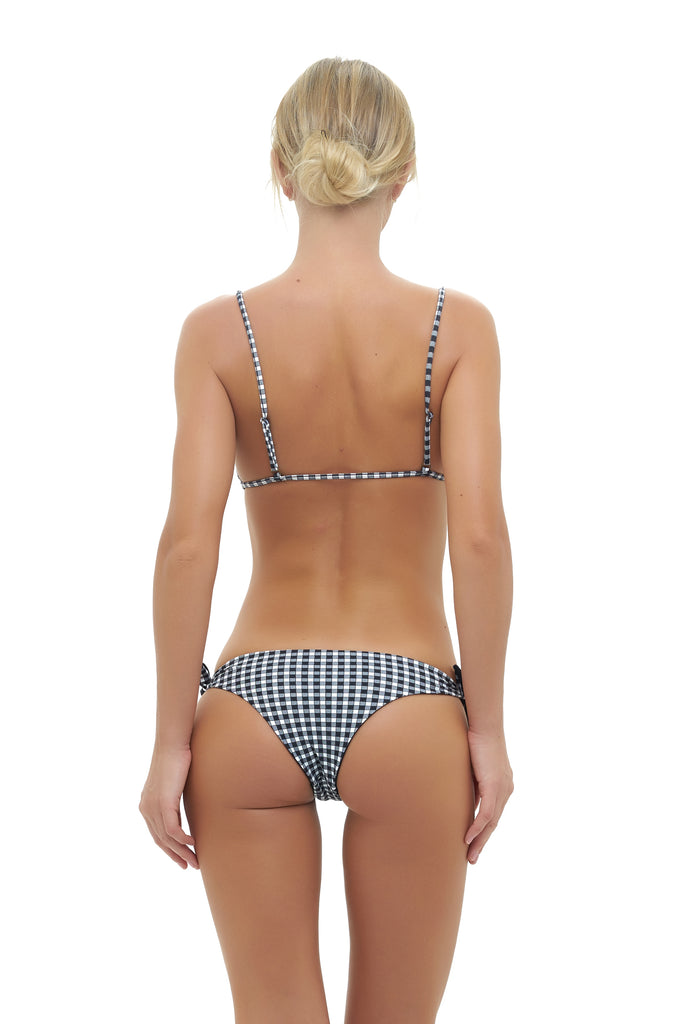 Barbados - Tie knot Side Bikini Bottoms in Gingham Black and white Check