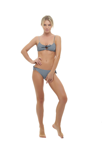 Barbados - Bow tie front bikini top in Gingham Black and white Check