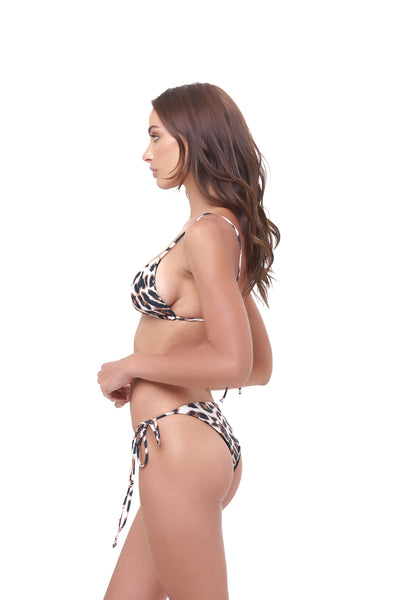 Formentera - Tie Side Bikini Bottom in Leopard Print