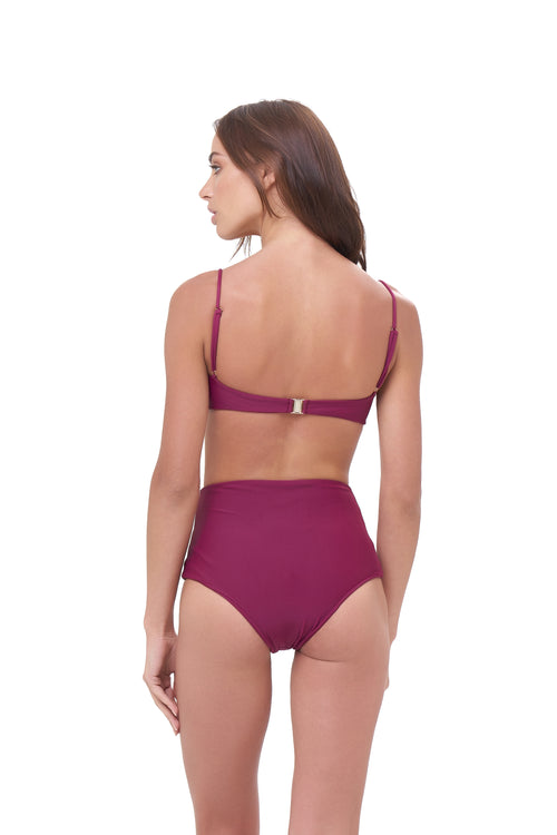 Cannes - High Waist Bikini Bottom in Wine