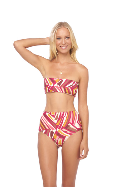 Cannes - High Waist Bikini Bottom in Kaleidescope print