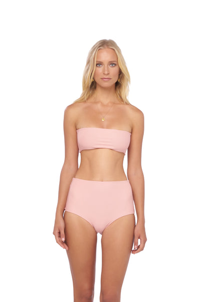 Cannes - High Waist Bikini Bottom in Blush