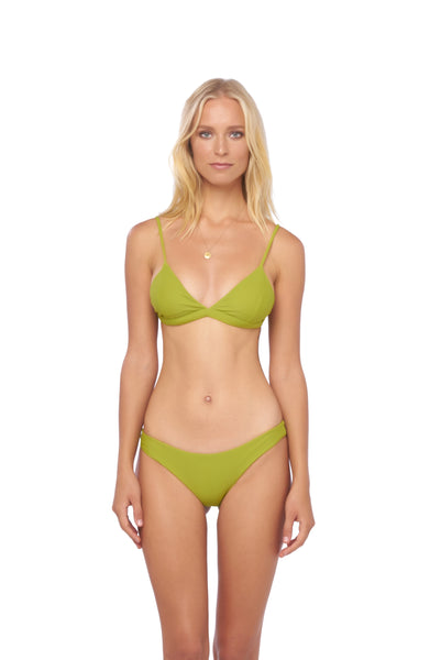 Mallorca - Triangle Bikini Top with removable padding in Golden Olive