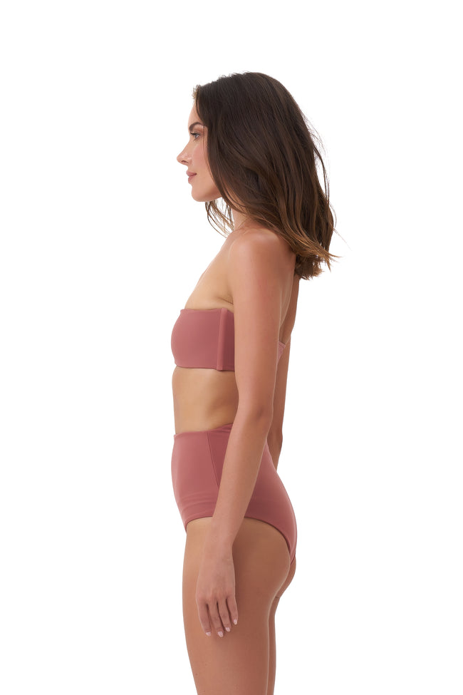 Cannes - High Waist Bikini Bottom in Canyon Rose