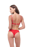 Aruba - Centre Back Ruche Bikini Bottom in Scarlet