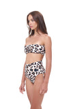 Ravello - Plain Bandeu Bikini Top in Leopard Print