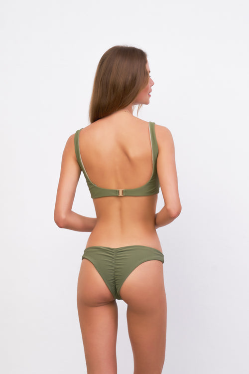 Aruba - Centre Back Ruche Bikini Bottom in Jungle Corduroy