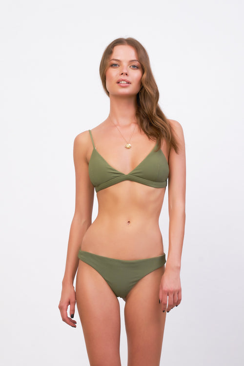 Mallorca - Triangle Bikini Top with removable padding in Jungle Corduroy