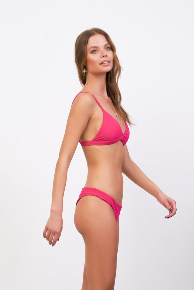 Mallorca - Triangle Bikini Top with removable padding in Flamingo Corduroy
