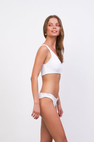 Cinque Terre - One shoulder bikini top in White Corduroy