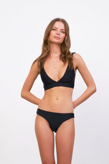 Formentera - Tie Back Triangle Bikini Top in Raven Corduroy