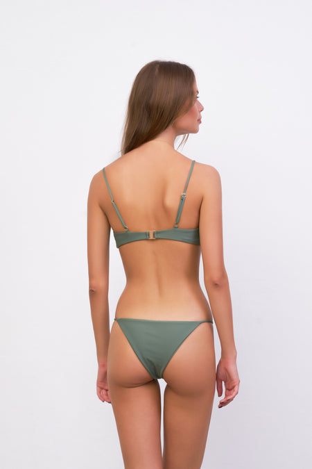 Mallorca - Triangle Bikini Top with removable padding in Raven Corduroy