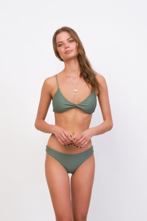 Bora Bora - Twist front padded top in Eucalyptus