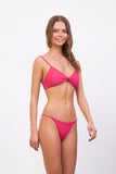 Capri - Tube Single Side Strap Bikini Bottom in Flamingo Corduroy