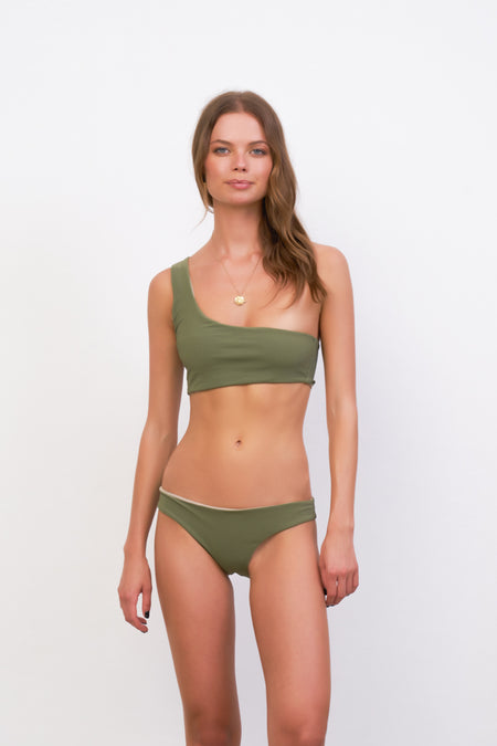 Ravello - Plain Bandeu Bikini Top in Plain Bamboo