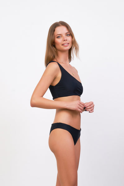 Cinque Terre - One shoulder bikini top in Raven Corduroy